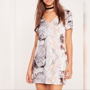Missguided marble print scuba mini dress
